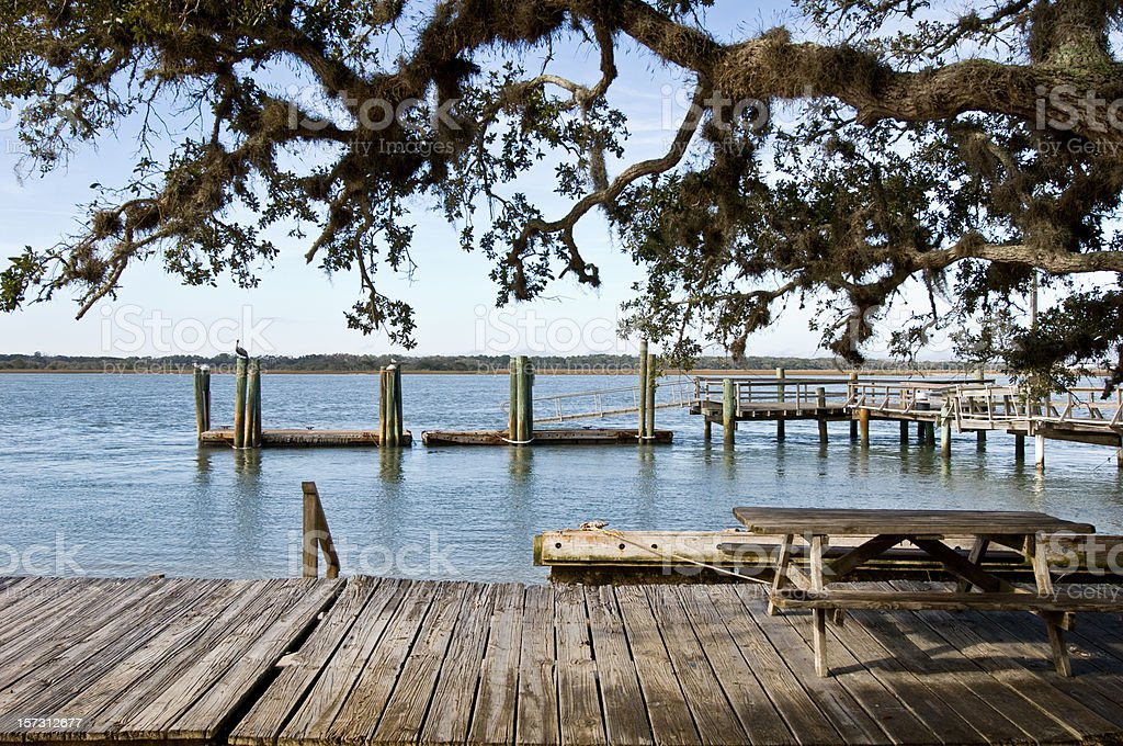 Dock at the river royalty-free stock photo