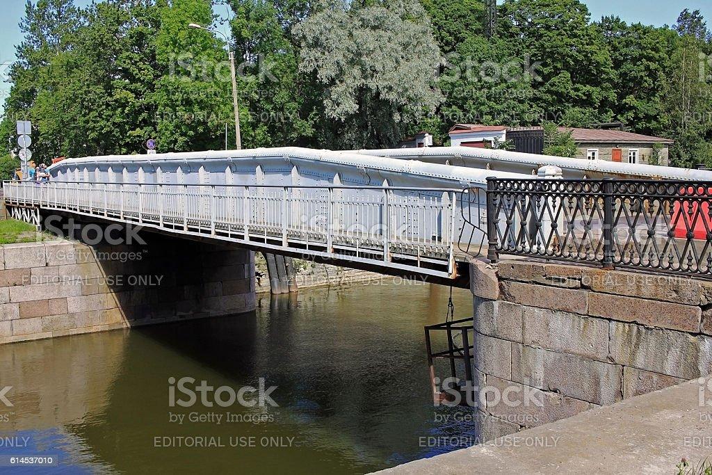 Dock bridge in Kronstadt, Russia stock photo
