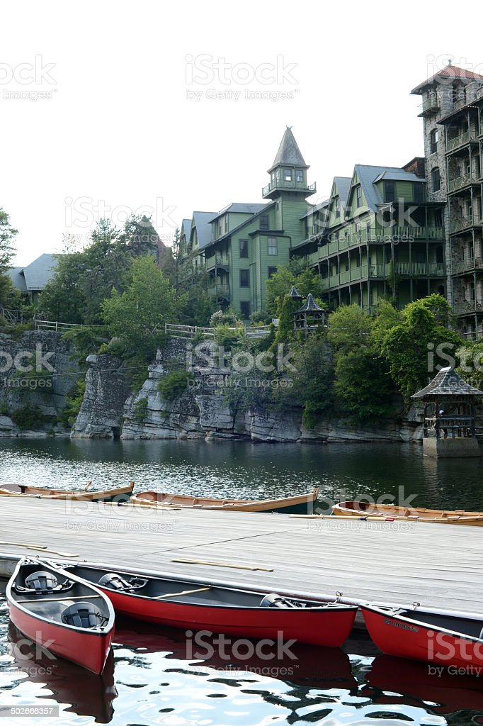 Dock by the Mohonk Lake stock photo