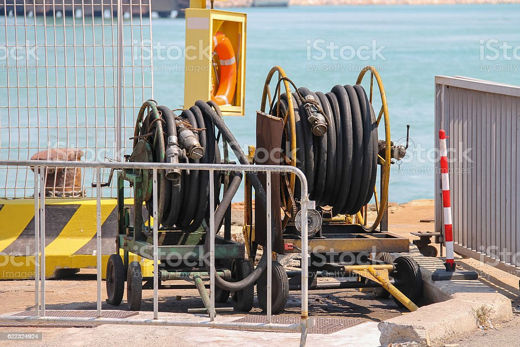 Dock equipment at the berth in Piombino seaport, Italy stock photo