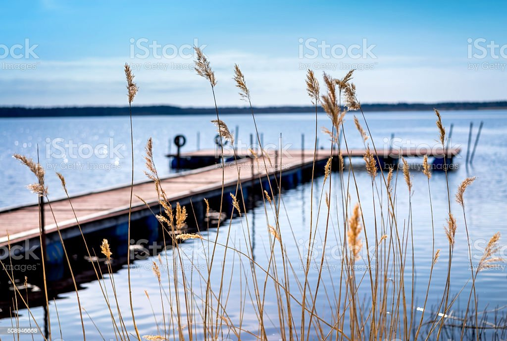 Dock for pleasure and fishing boats stock photo