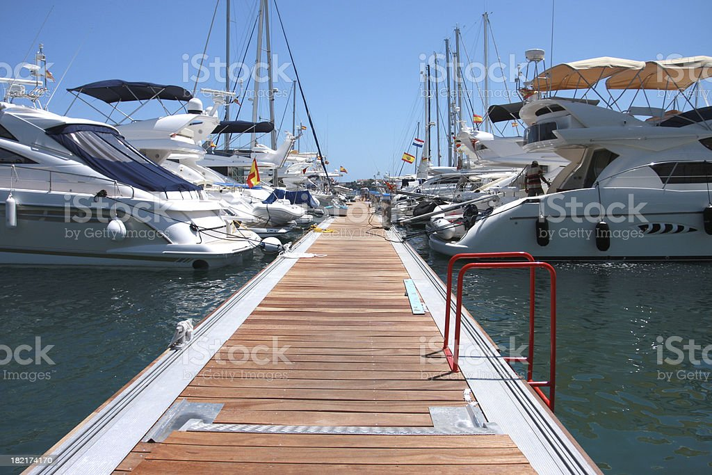 A dock for private yachts and boats stock photo