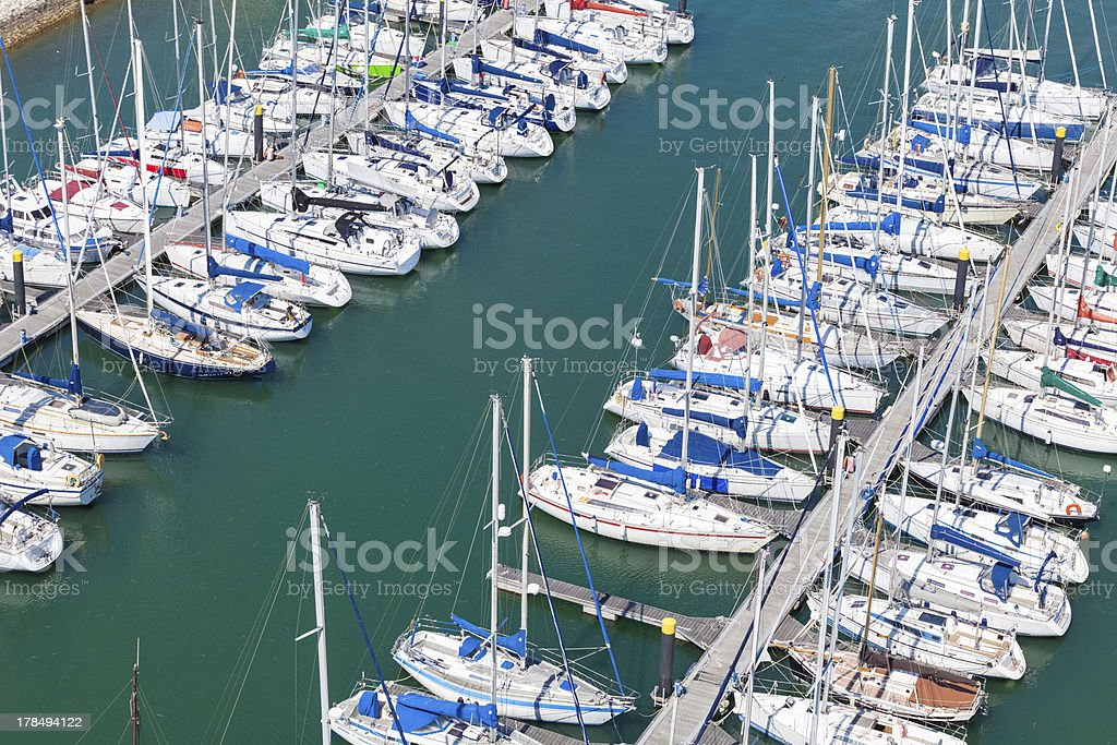 Dock full of sailboats. Aerial view royalty-free stock photo