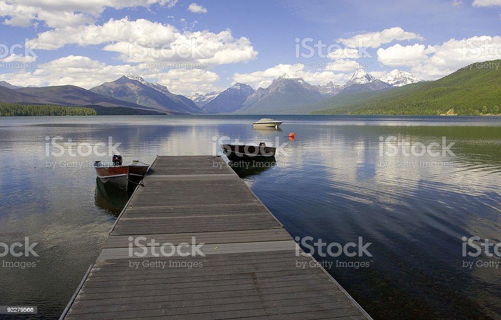 Dock, Lake McDonald stock photo