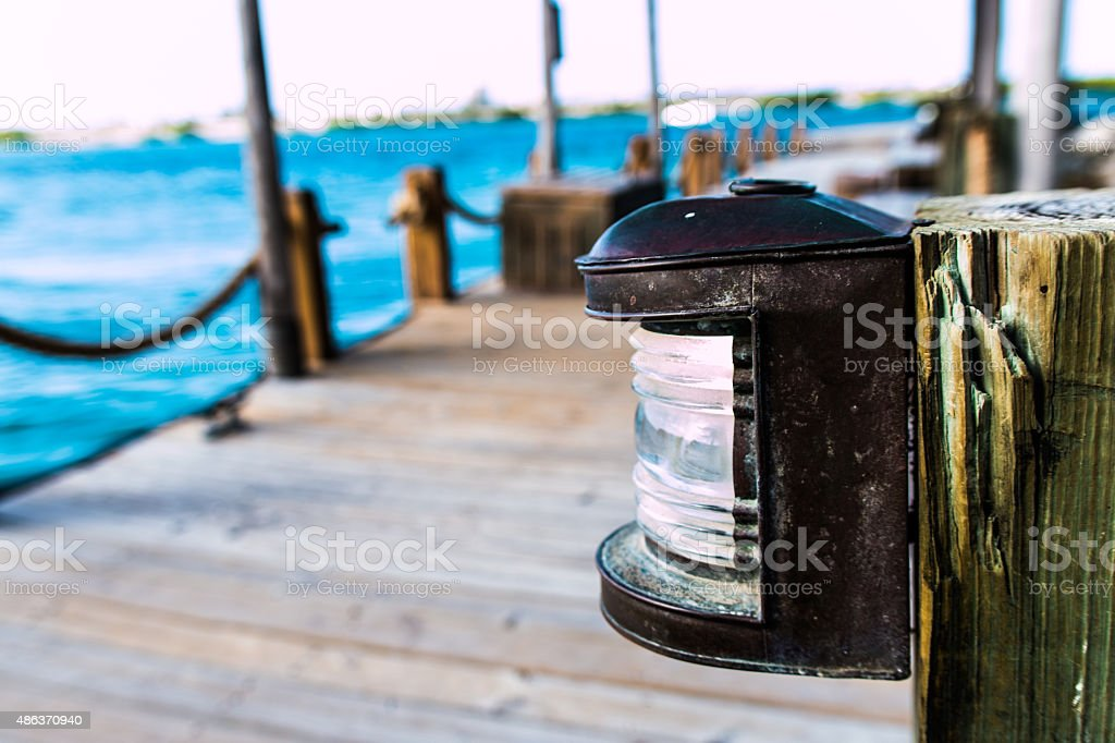 Dock light stock photo