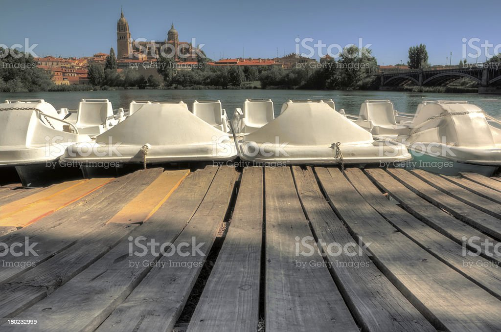 Dock of pedal boats stock photo