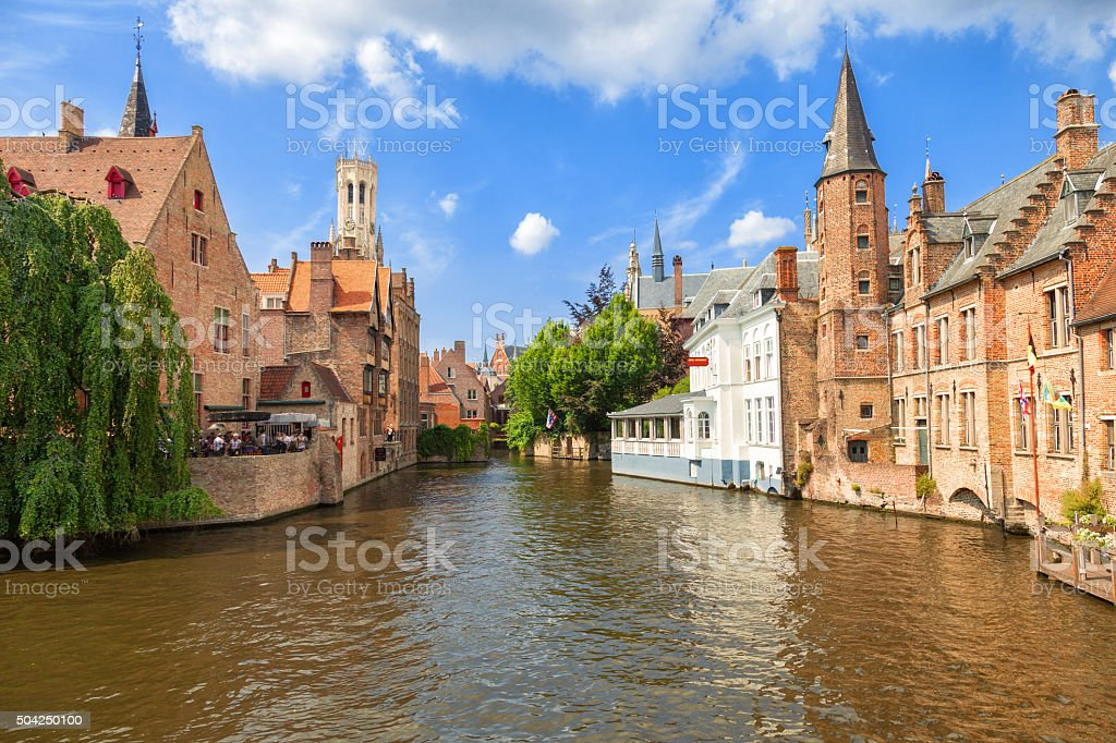 Dock of the Rosary and Belfry. Bruges, Belgium stock photo