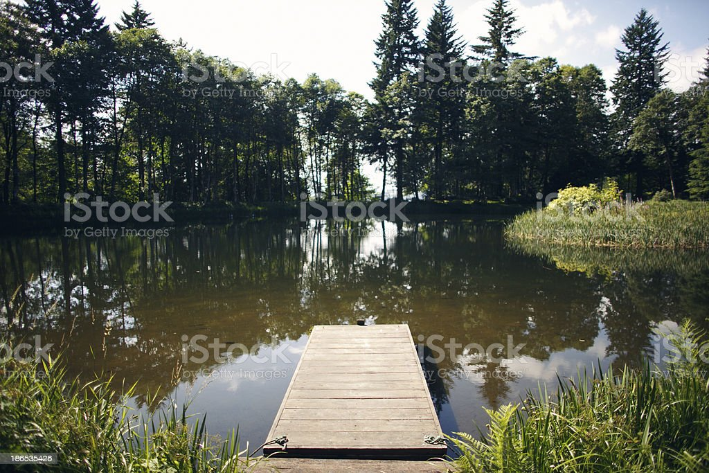 Dock on a Lake stock photo