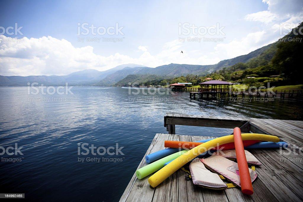 Dock on Lago de Coatepeque (Crater lake) El Salvador royalty-free stock photo
