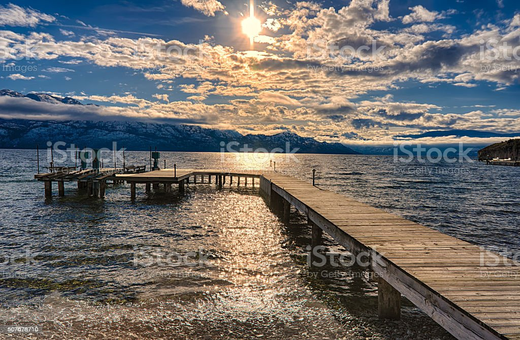 Dock on Okanagan Lake Kelowna British Columbia Canada stock photo