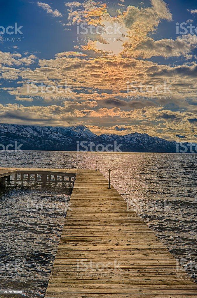 Dock on Okanagan Lake Kelowna British Columbia Canada stock photo
