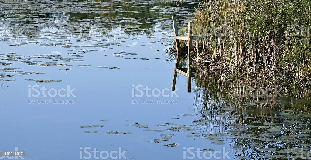 Dock or pier reflected on lake royalty-free stock photo