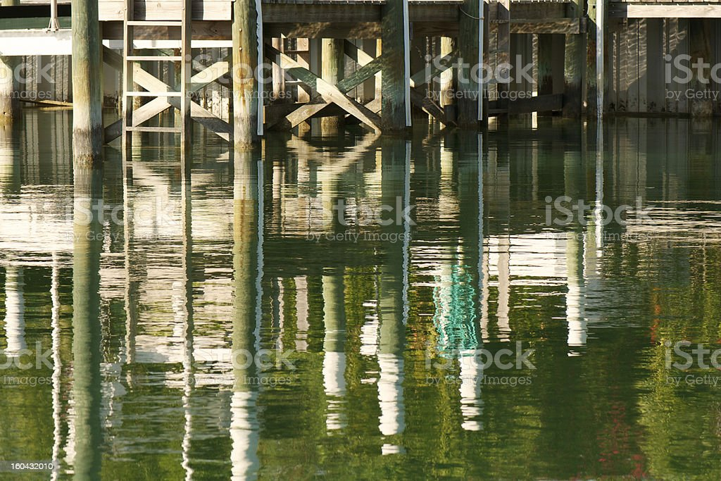 Dock Reflections at Sunset stock photo