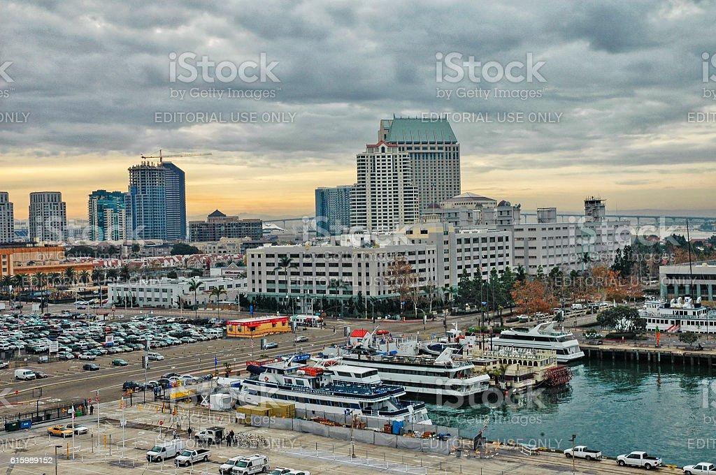 Dock view of San Diego and Coronado Bridge stock photo
