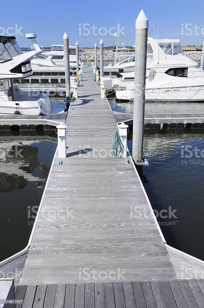 Dock with boats and copy space royalty-free stock photo