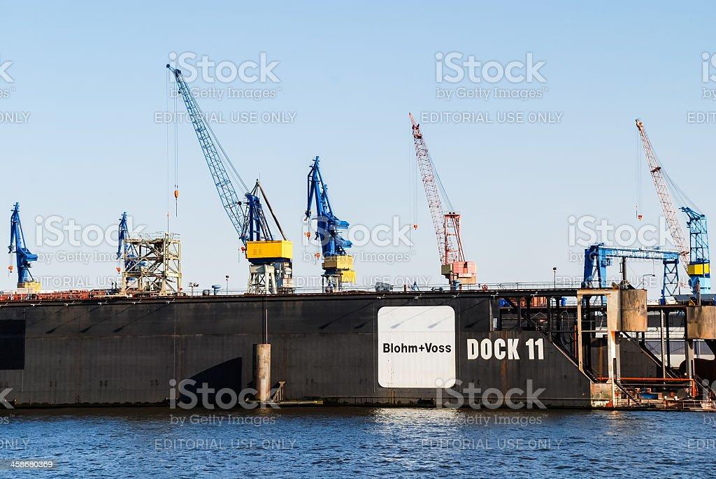 Dock with cranes stock photo