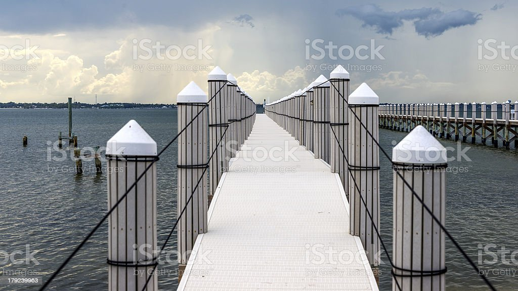 Dock With Rainstorm stock photo