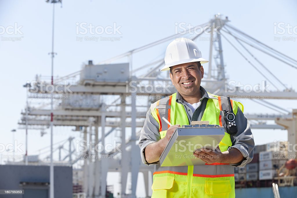 Dock Worker at Port royalty-free stock photo
