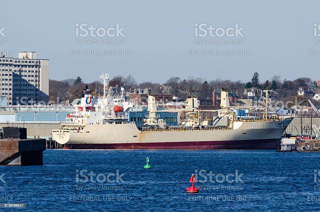 Docked cargo ship in New Bedford stock photo