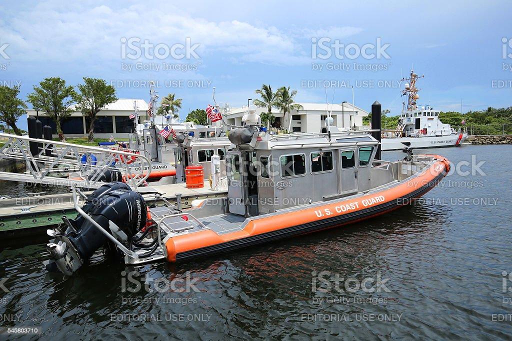 Docked Coast Guard boat stock photo