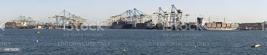 Docked Container Ships And Harbor royalty-free stock photo