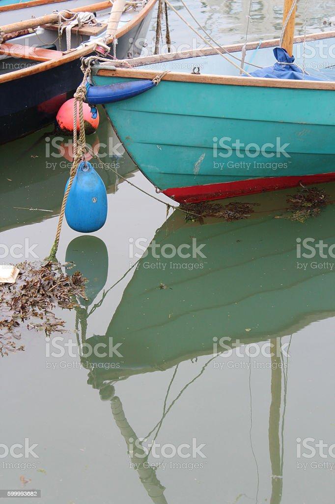docked dinghy stock photo