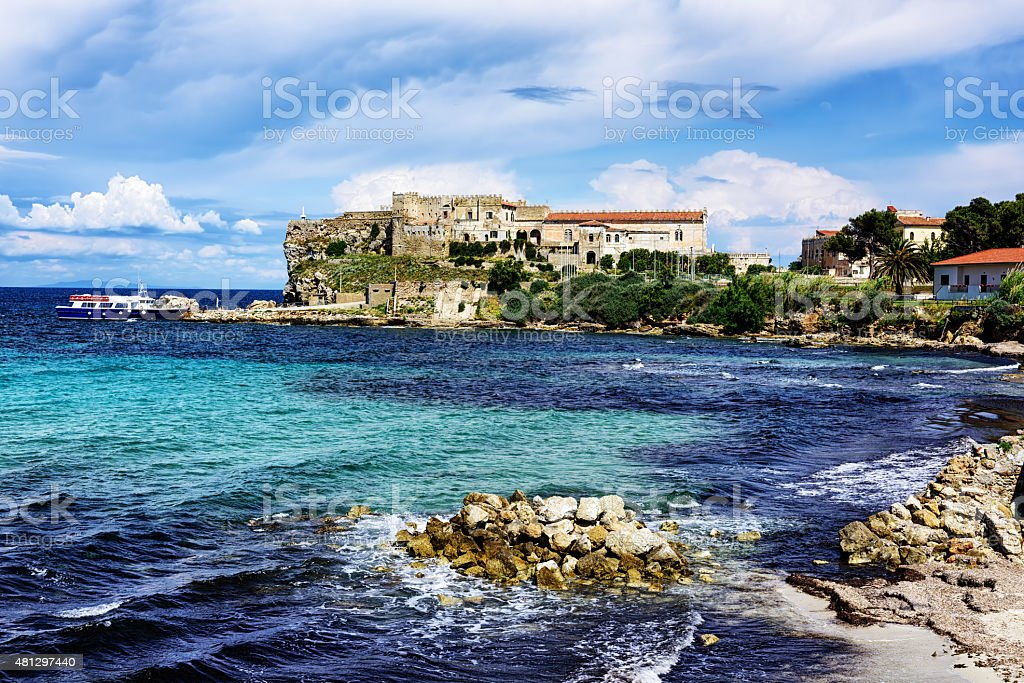 Docked ferry boat at   Pianosa Island, Italy stock photo