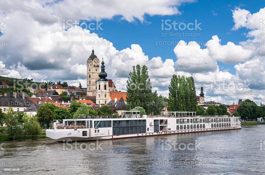 Docked in Krems an der Donau stock photo