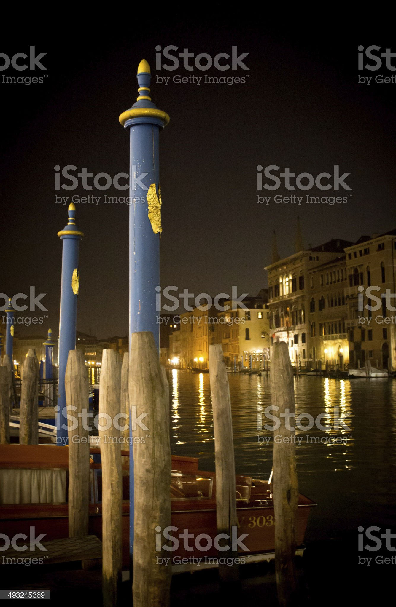 Docked on the Grand Canal at Night royalty-free stock photo