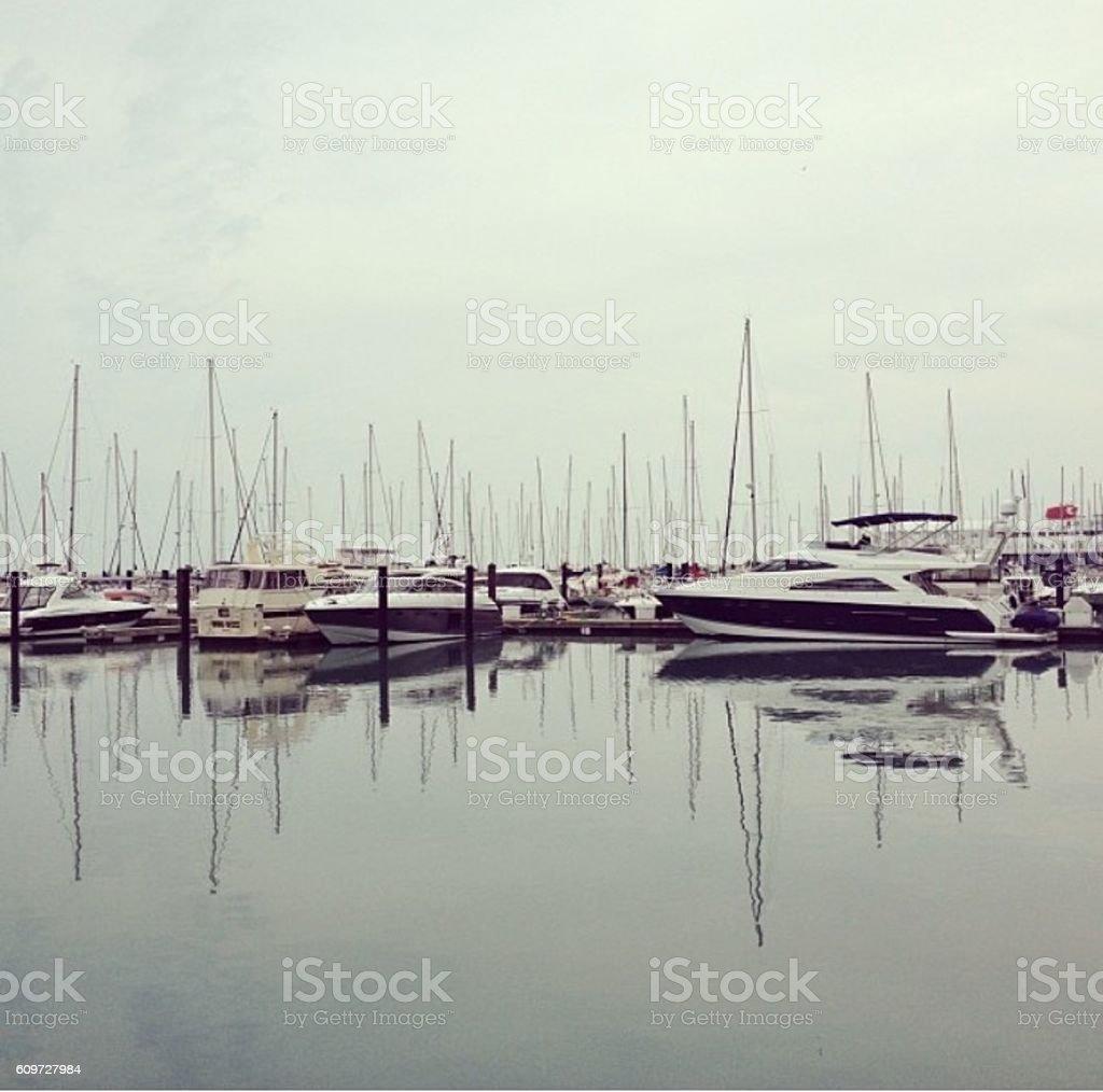 Docked Sailboats stock photo