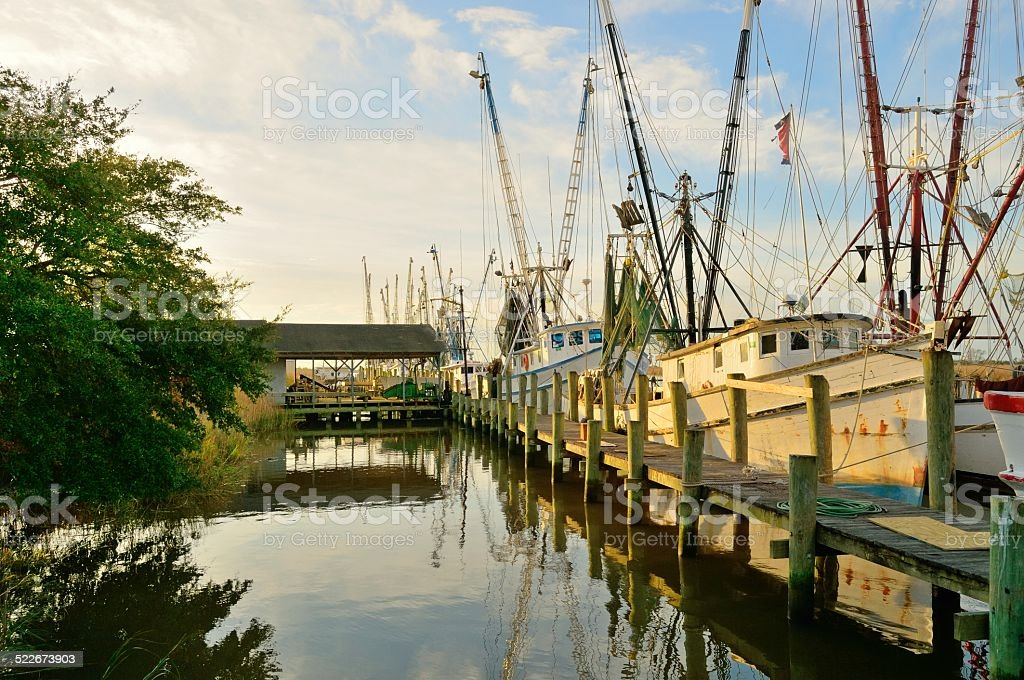 Docked Shrimp Boats stock photo
