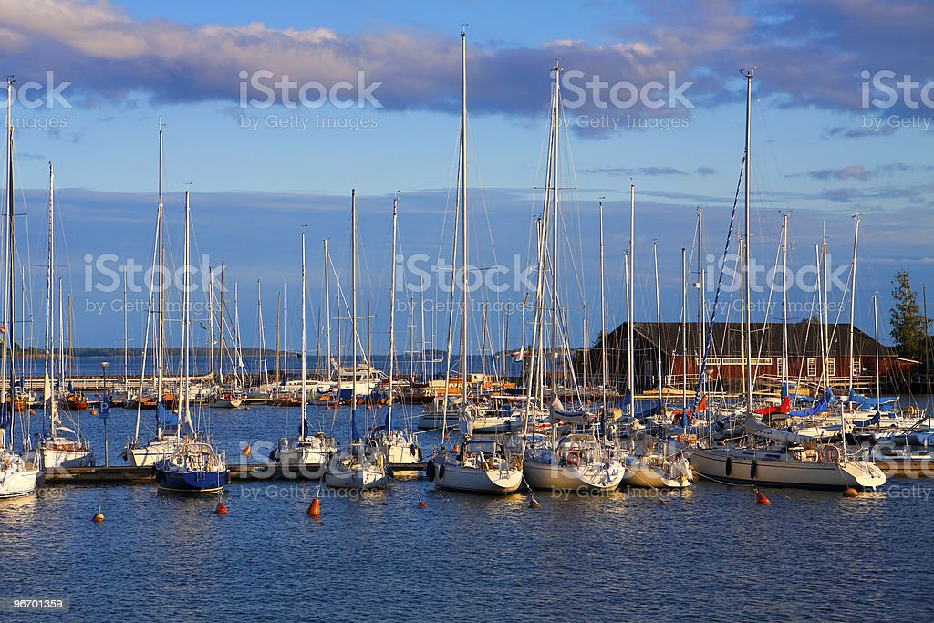 Docked yachts in Helsinki, Finland royalty-free stock photo