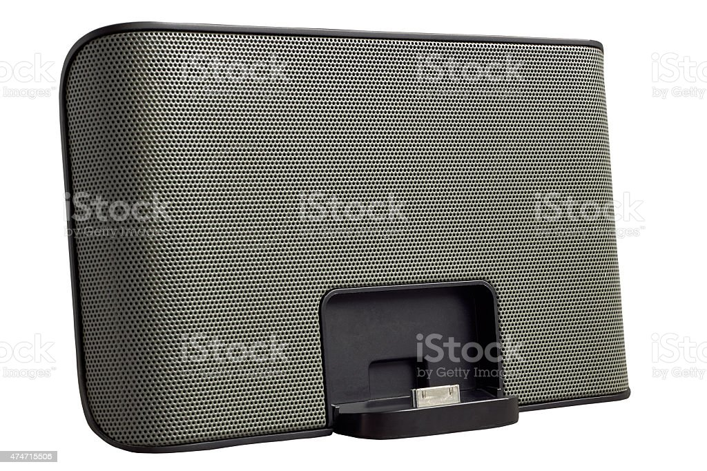 Docking station for mobile phone isolated on a white background stock photo