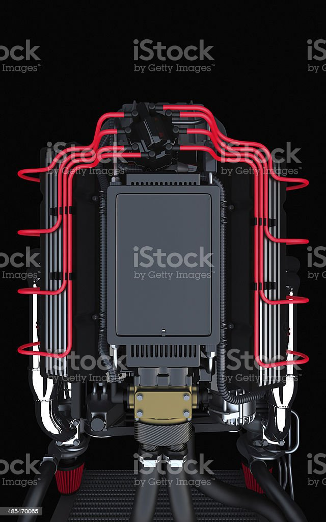 Docking station for tablets and mobiles on a V8 engine stock photo