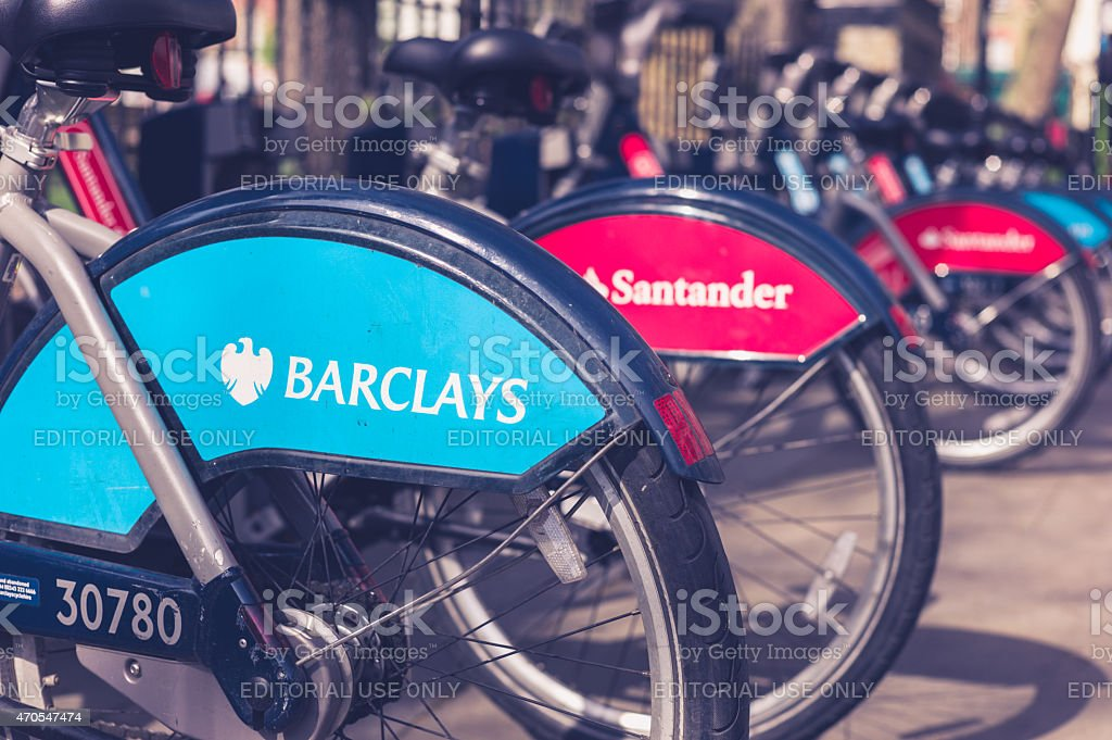 Docking station with rental bikes in London stock photo