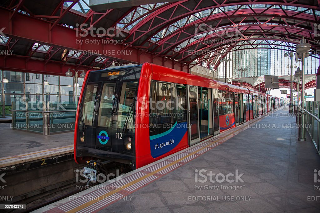 Docklands Light Rail DLR Train at Canary Wharf Staion stock photo