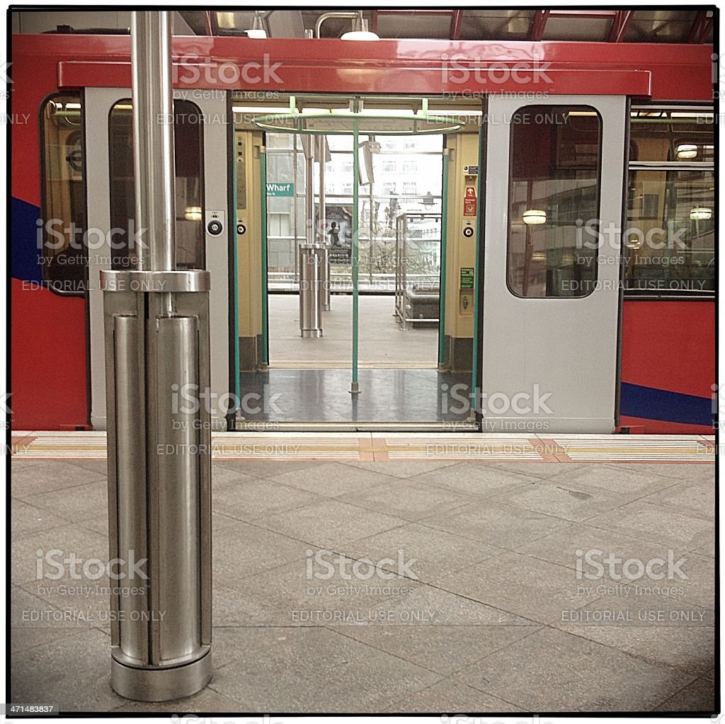 Docklands Light Railway at Canary Wharf Station stock photo
