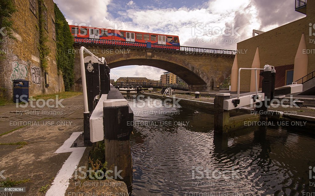 Docklands Light Railway at Limehouse Basin stock photo