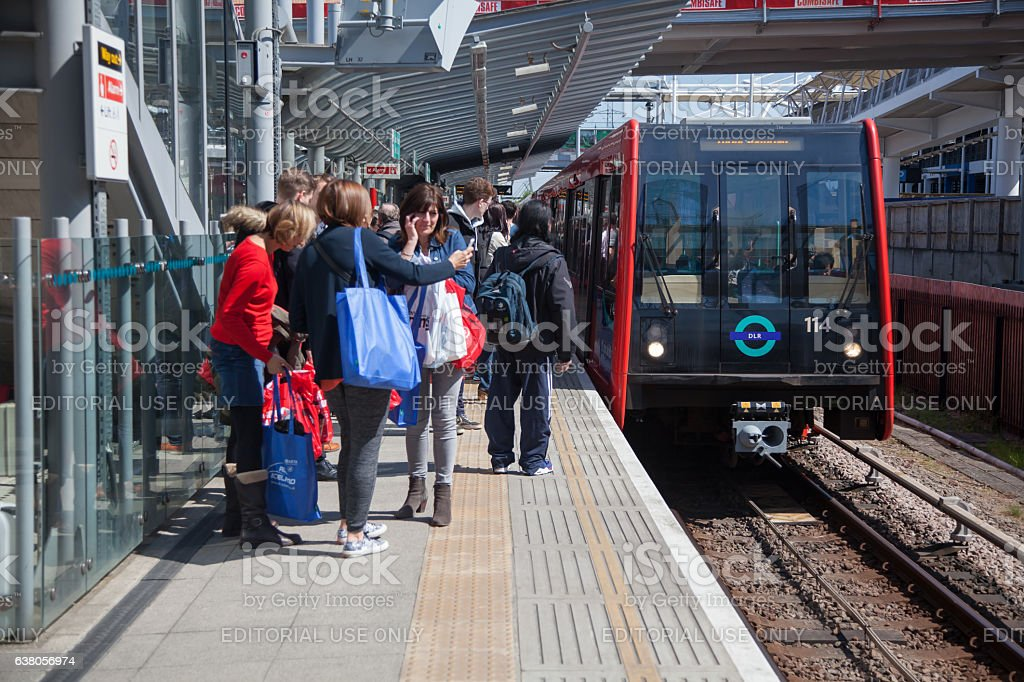 Docklands Light Railway London Transport and Passengers stock photo