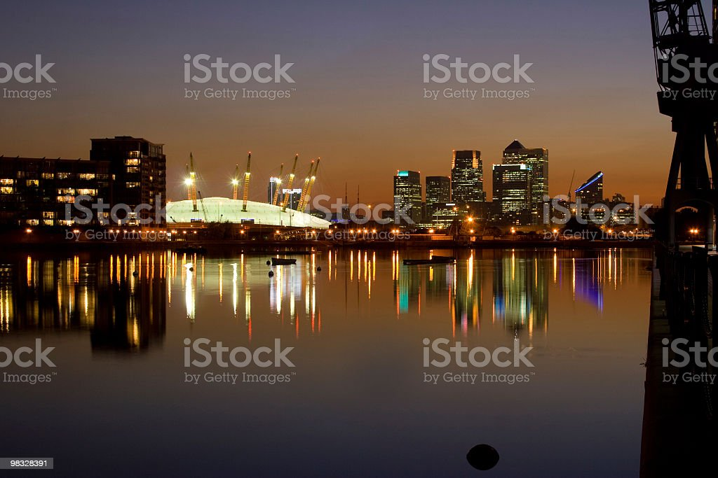 Docklands, London and O2 arena stock photo