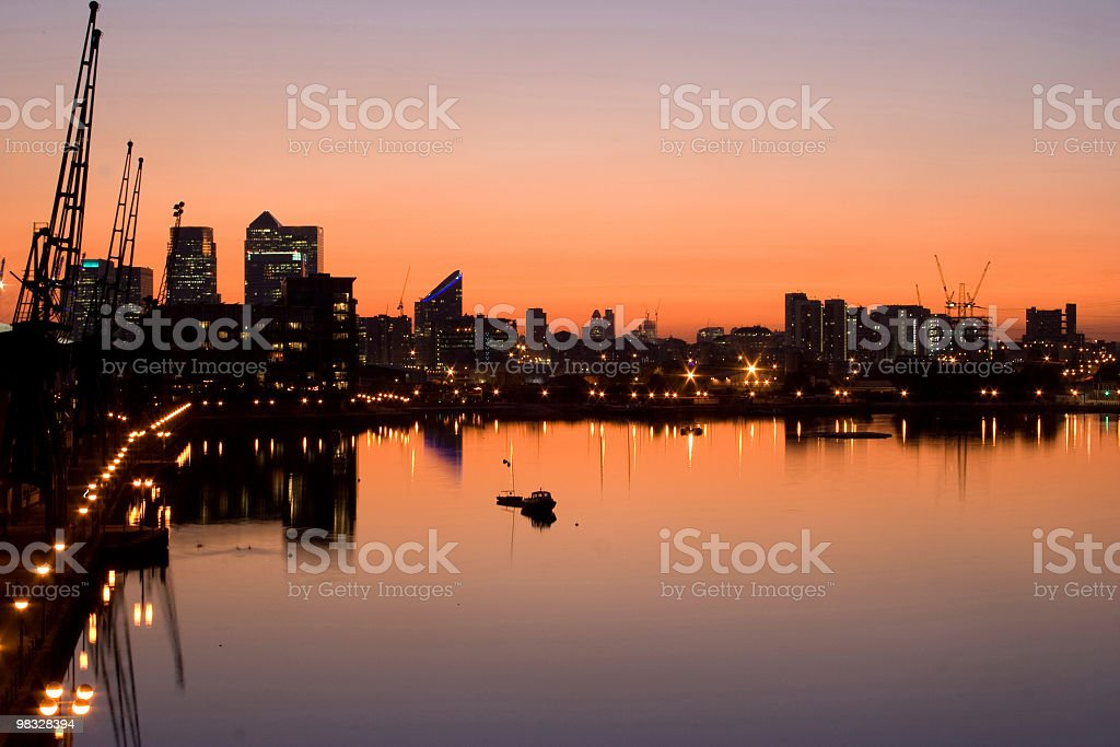 Docklands skyline at twilight stock photo