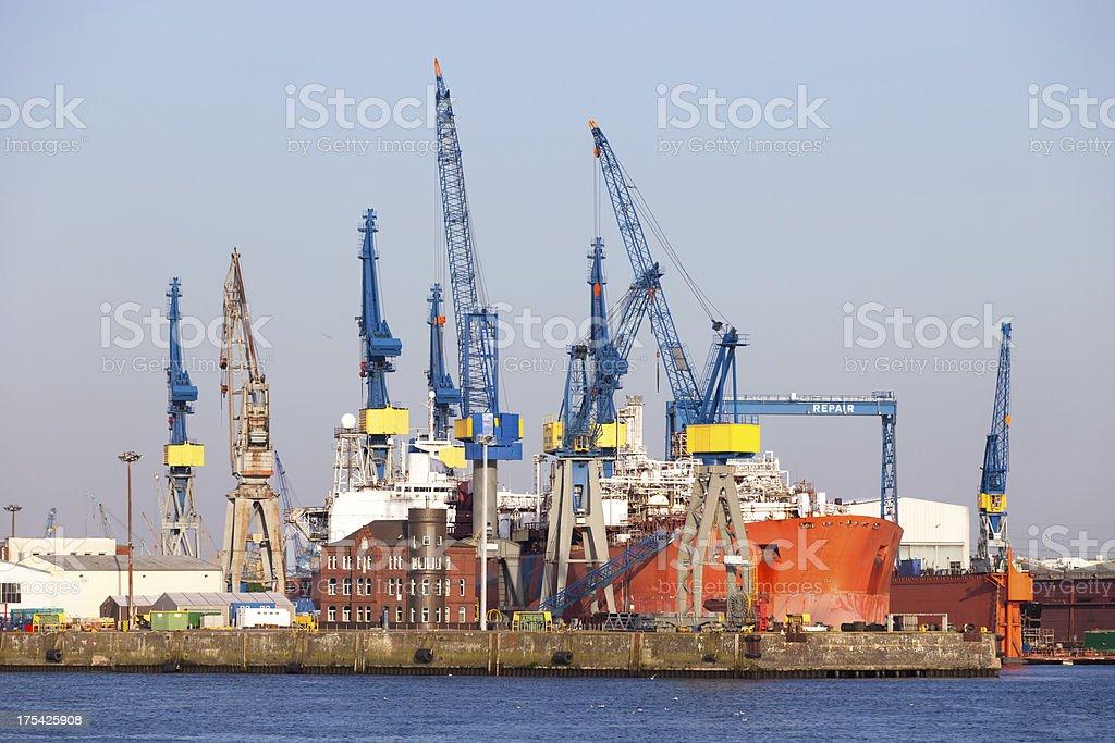 Docks and cranes in the port of Hamburg stock photo