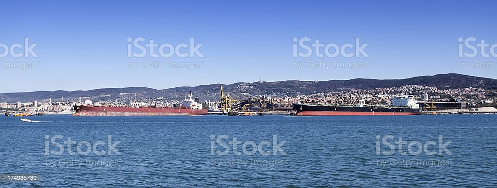 Docks and oil tankers at Trieste harbor stock photo
