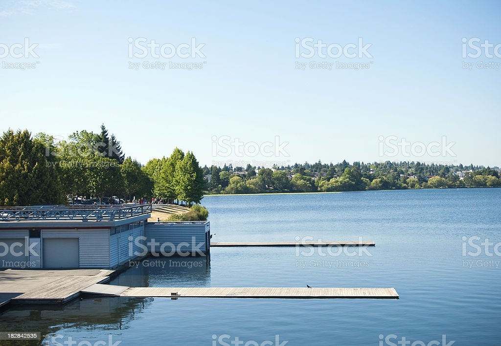 Docks at Green Lake in Seattle, WA stock photo