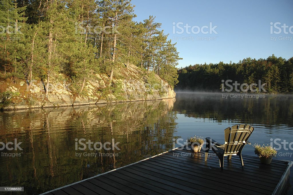 Dockside Morning at the Cottage stock photo