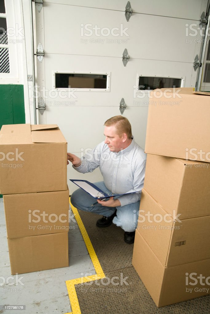 Dockworker Checking Paperwork royalty-free stock photo
