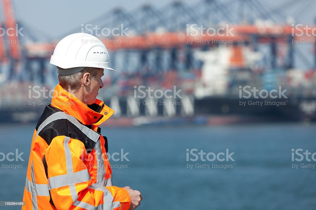 Dockworker stock photo