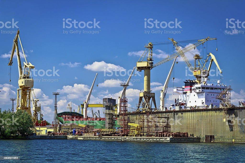 Dockyard in industrial harbour royalty-free stock photo