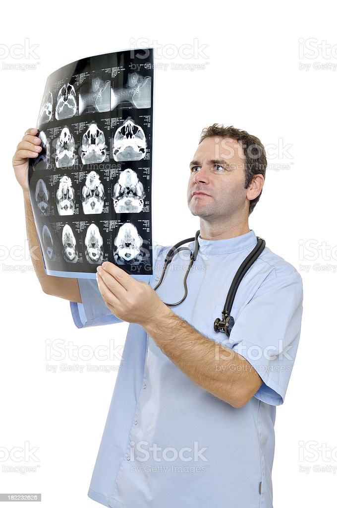 Doctor analyzing MRI scan royalty-free stock photo