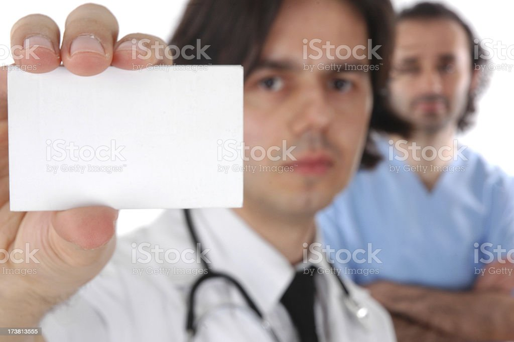 doctor and blank card royalty-free stock photo